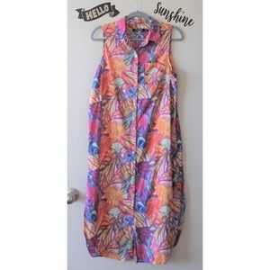 RL Tropical Floral Print Button Down Tunic Dress M